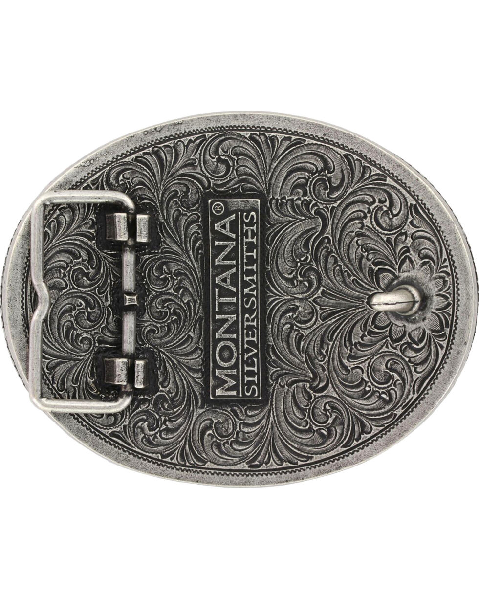 Montana Silversmiths Barbed Wire Longhorn Classic Impressions Attitude Belt Buckle, Multi, hi-res