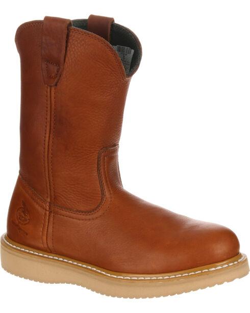 Georgia Men's Wellington Barracude Steel Toe Work Boots, Brown, hi-res