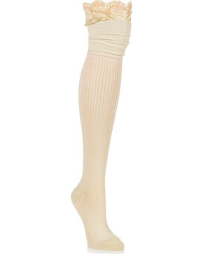 K.Bell Women's Lace Collar Over-The-Knee Socks, Cream, hi-res