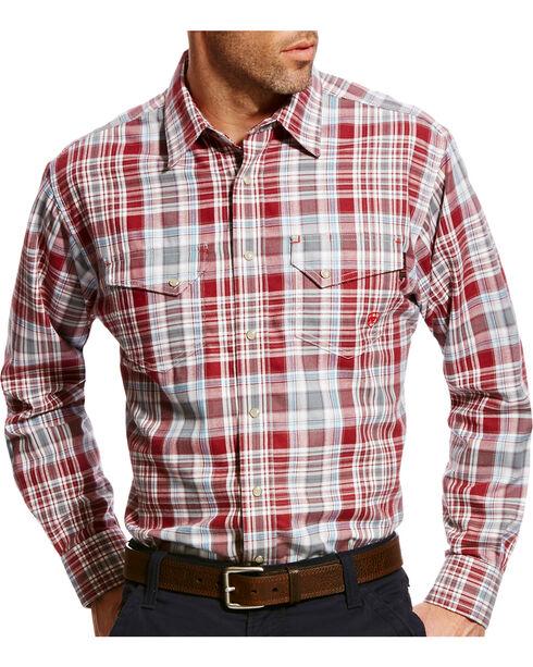 Ariat Men's Karlsten Burgundy FR Retro Plaid Snap Work Shirt, Pink, hi-res