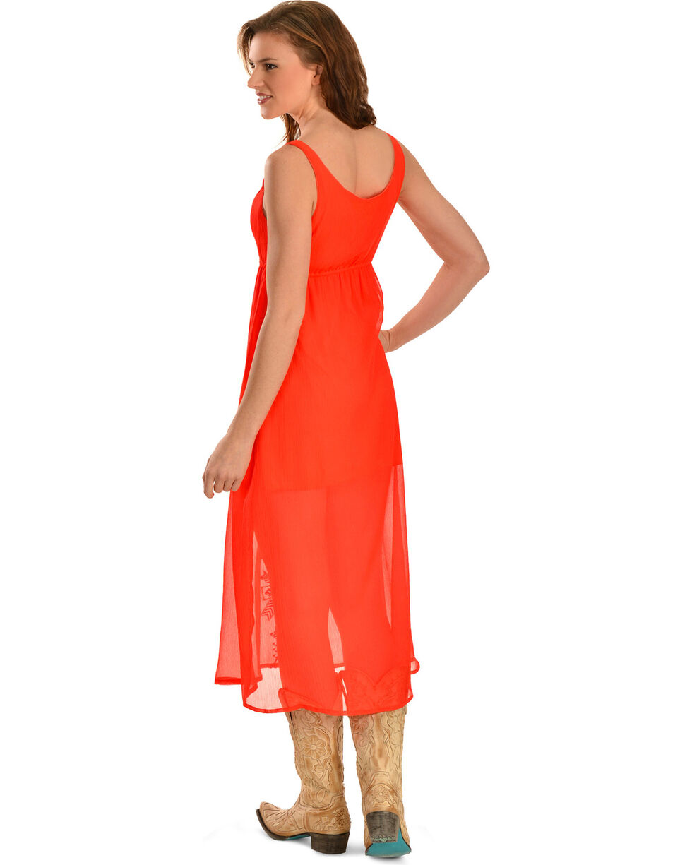 R Cinco Ranch My Way Orange Maxi Dress, Red, hi-res