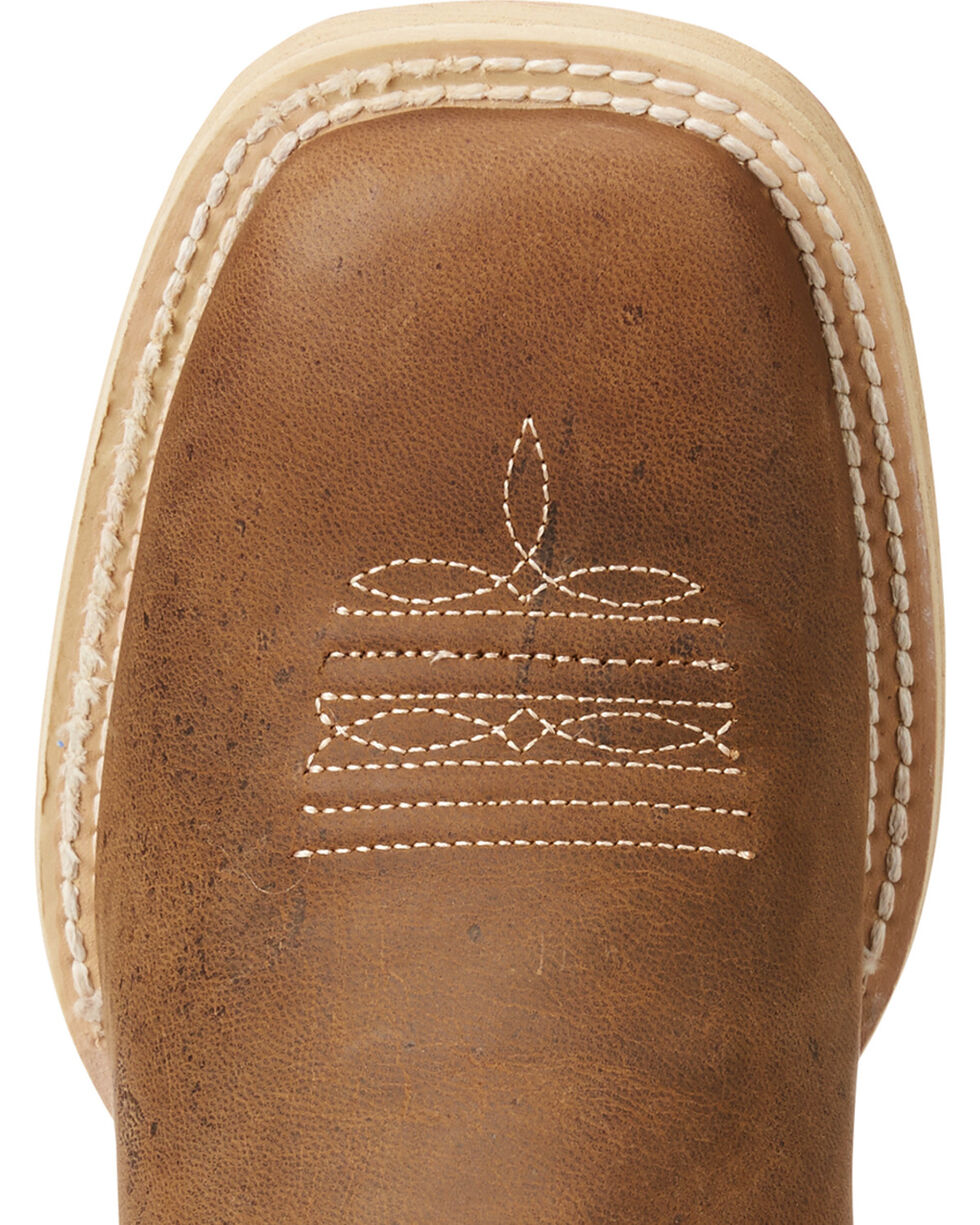 Ariat Boys' Brown Vaquera Weathered Western Boots - Square Toe , Brown, hi-res
