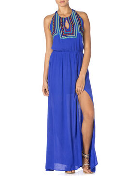Miss Me Women's Embroidered Halter Maxi Dress, Blue, hi-res