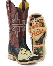 Tin Haul Men's 4 of A Kind with House of Cards Sole Cowboy Boots - Square Toe, , hi-res