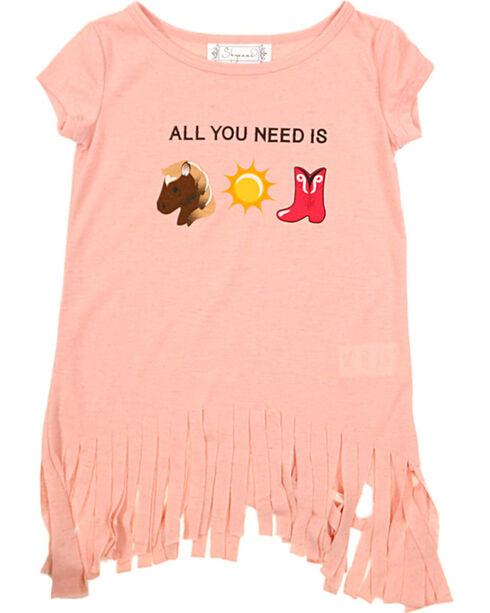 Shyanne® Toddler Girls' Emoji Fringe T-Shirt, Peach, hi-res