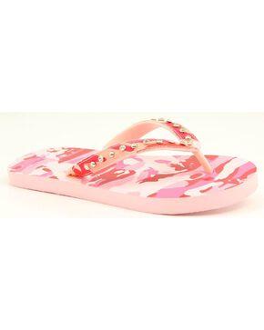 Blazin Roxx Lauren Pink Camo Crystal Flip Flops, Pink, hi-res
