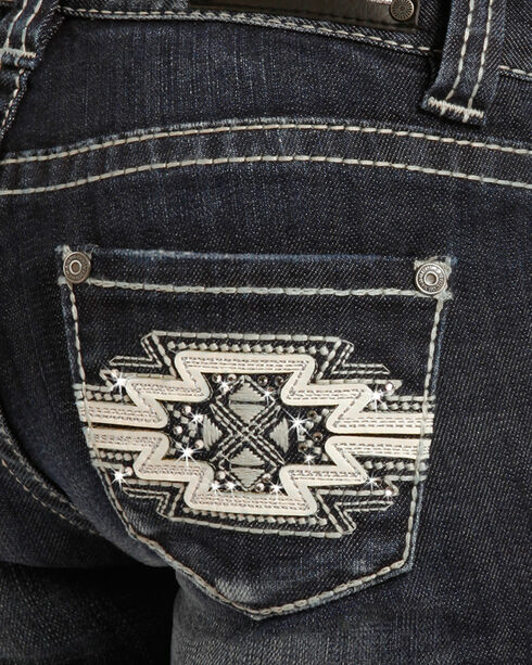 Rock & Roll Cowgirl Girls' (7-14) Aztec Embroidered Jeans - Boot Cut , Indigo, hi-res