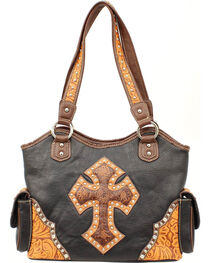 Blazin Roxx Tooled Cross Overlay Shoulder Bag, , hi-res