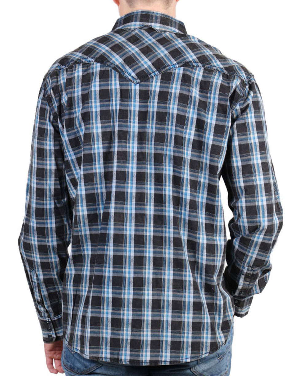 Moonshine Spirit® Men's Diamond Back Plaid Long Sleeve Shirt , Black, hi-res