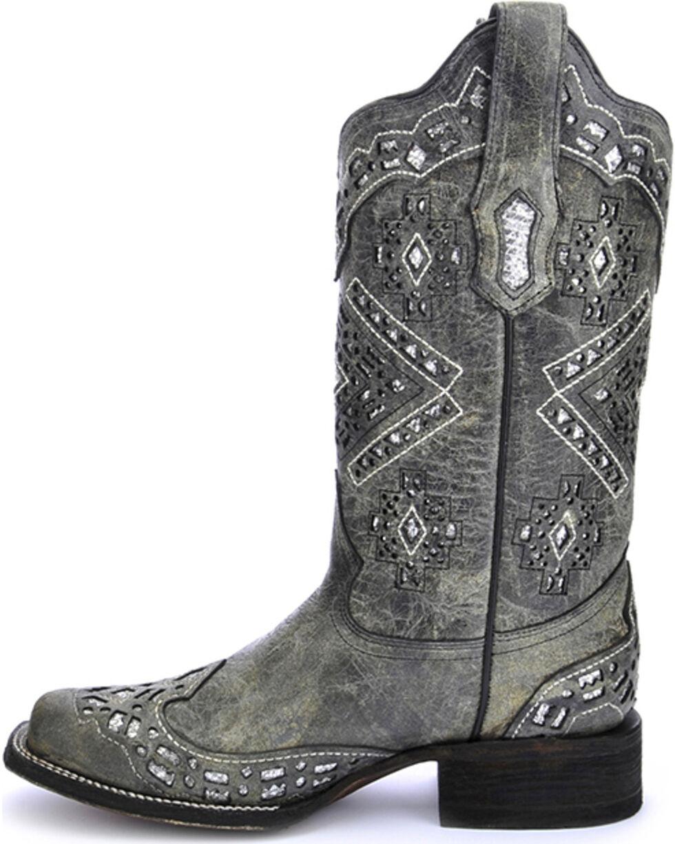 Corral Women's Diamond Glitter Western Boots, Black, hi-res