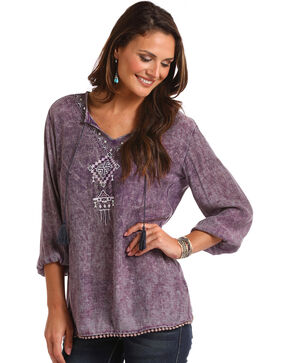 Panhandle Women's Embroidered Tassel Tie Peasant Top - Plus, Purple, hi-res