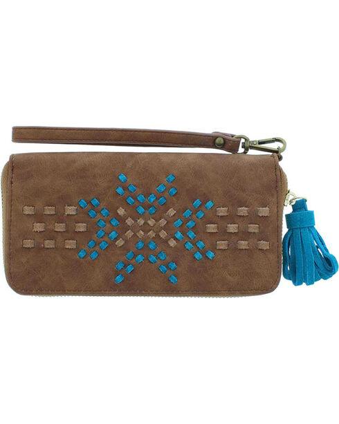 Catchfly Women's Brown Leonna Lacing Wallet , Brown, hi-res