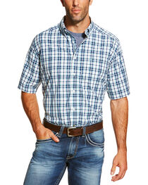Ariat Men's Blue Nawton Short Sleeve Shirt - Big and Tall , , hi-res