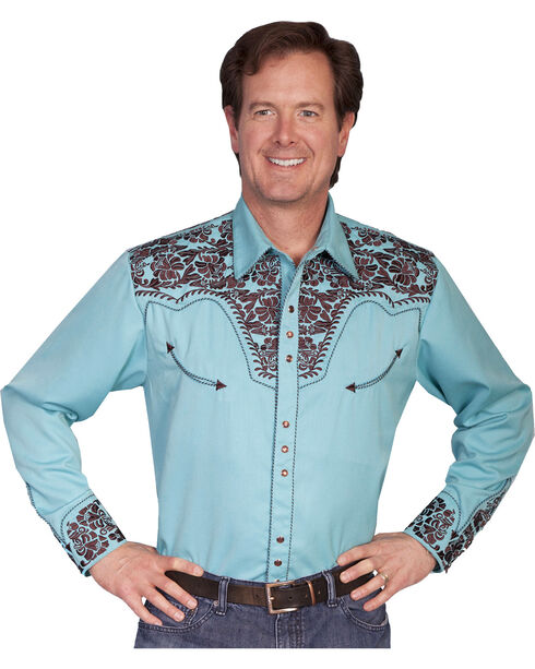 Scully Turquoise Embroidery Retro Western Shirt - Big & Tall, Light Blue, hi-res