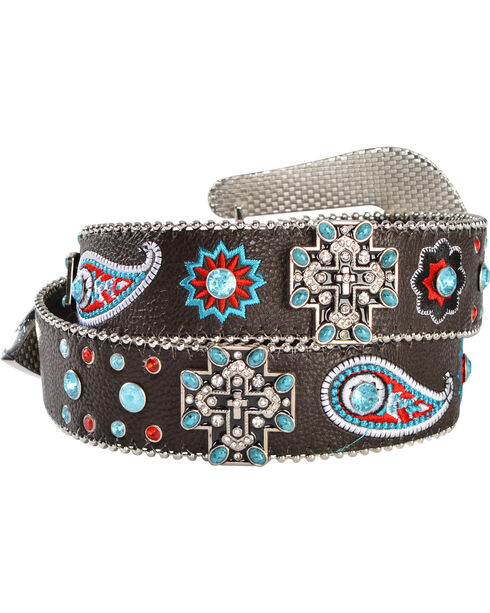 Blazin Roxx Cross Concho Floral & Paisley Embroidered Belt, Brown, hi-res