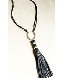 Jewelry Junkie Women's Antique Silver Horseshoe Necklace with Black Leather Tassel, , hi-res