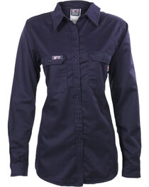 Lapco Women's Navy FR UltraSoft Uniform Shirt , , hi-res