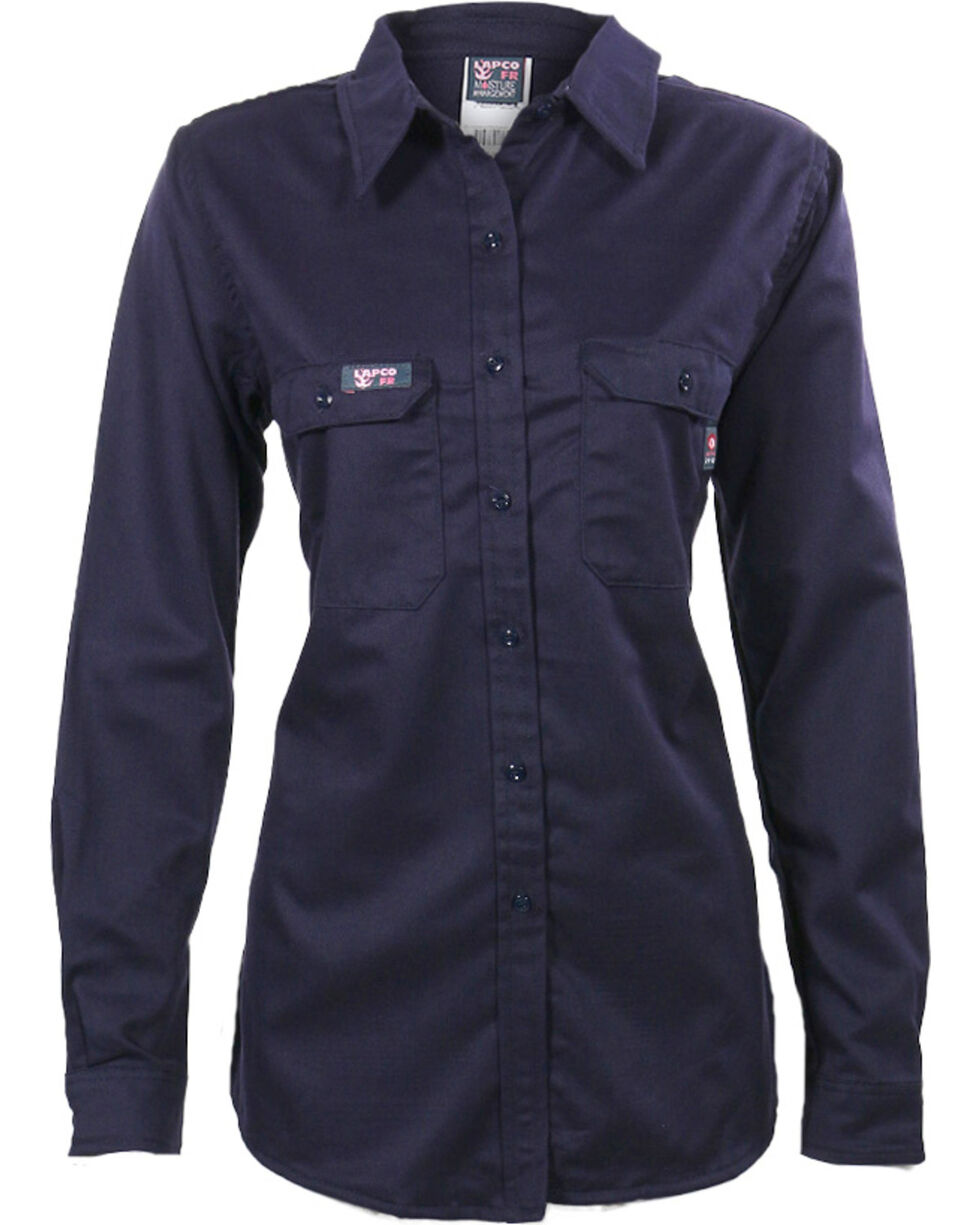 Lapco Women's Navy FR UltraSoft Uniform Shirt , Navy, hi-res