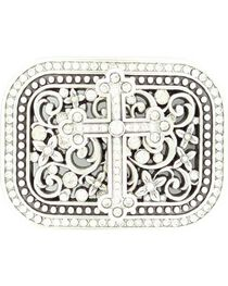 Nocona Crystal Cross & Floral Scroll Buckle, , hi-res