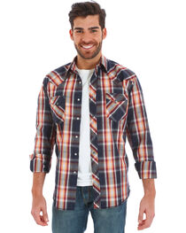 Wrangler Men's Black Plaid Fashion Snap Long Sleeve Shirt, , hi-res