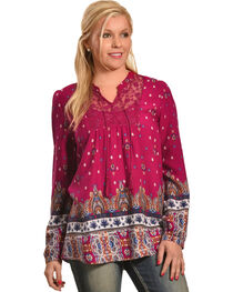 Tantrums Women's Red Berry Border Print Shirt , , hi-res