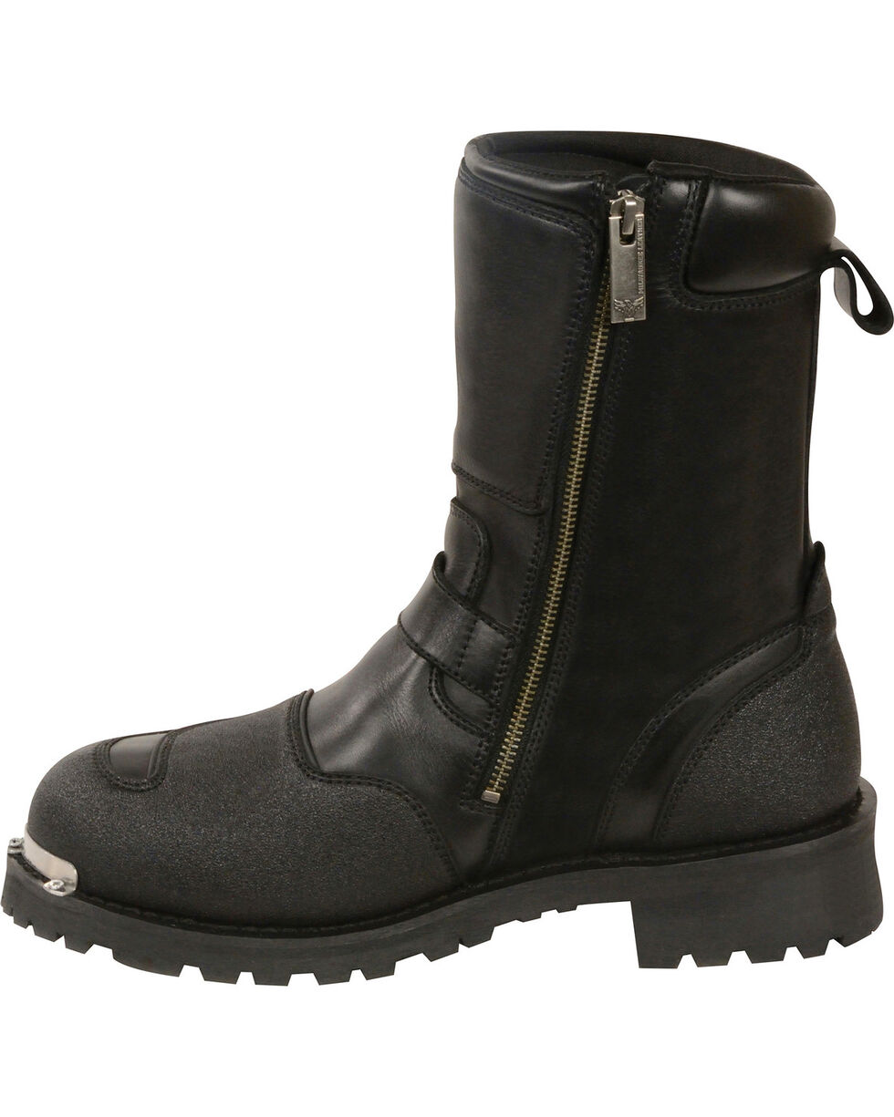 Milwaukee Leather Men's Black Reflective Piping Gear Shift Protection Boots - Round Toe , Black, hi-res