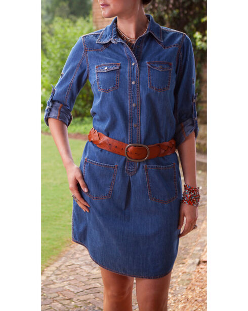 Ryan Michael Women's Denim Shirt Dress, Denim, hi-res