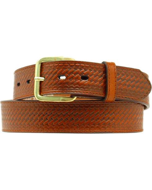 Double S Basketweave Embossed Money Pocket Leather Belt - Big, Brown, hi-res