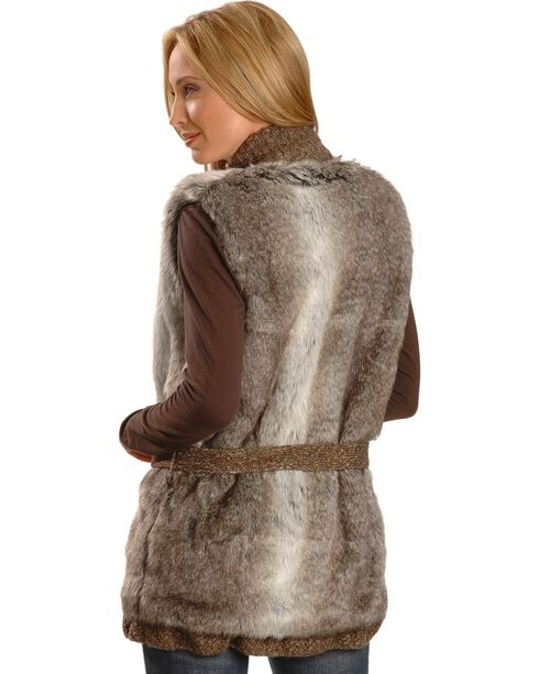 Cripple Creek Knitted Faux Fur Wrap Around Vest, Oatmeal, hi-res