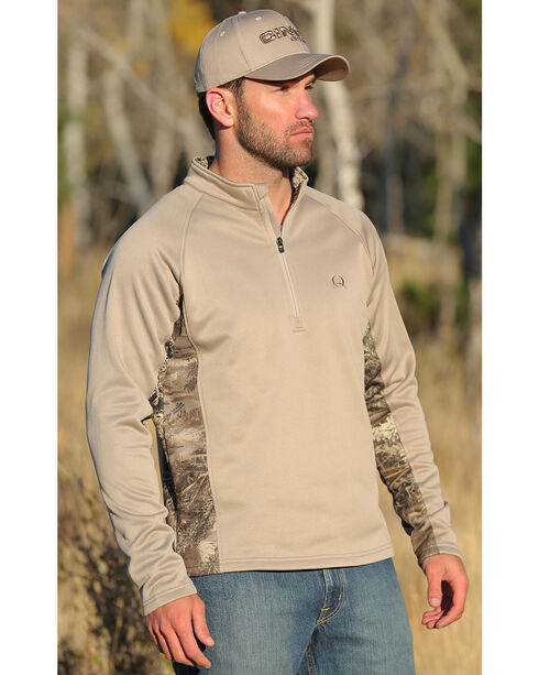 Cinch Men's 1/4 Zip Realtree Max 1 Poly-Tech Fleece Pullover, Lt Grey, hi-res