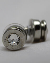 SouthLife Supply Women's Lizzy Bullet Stud Earrings in Traditional Silver with Crystal, , hi-res