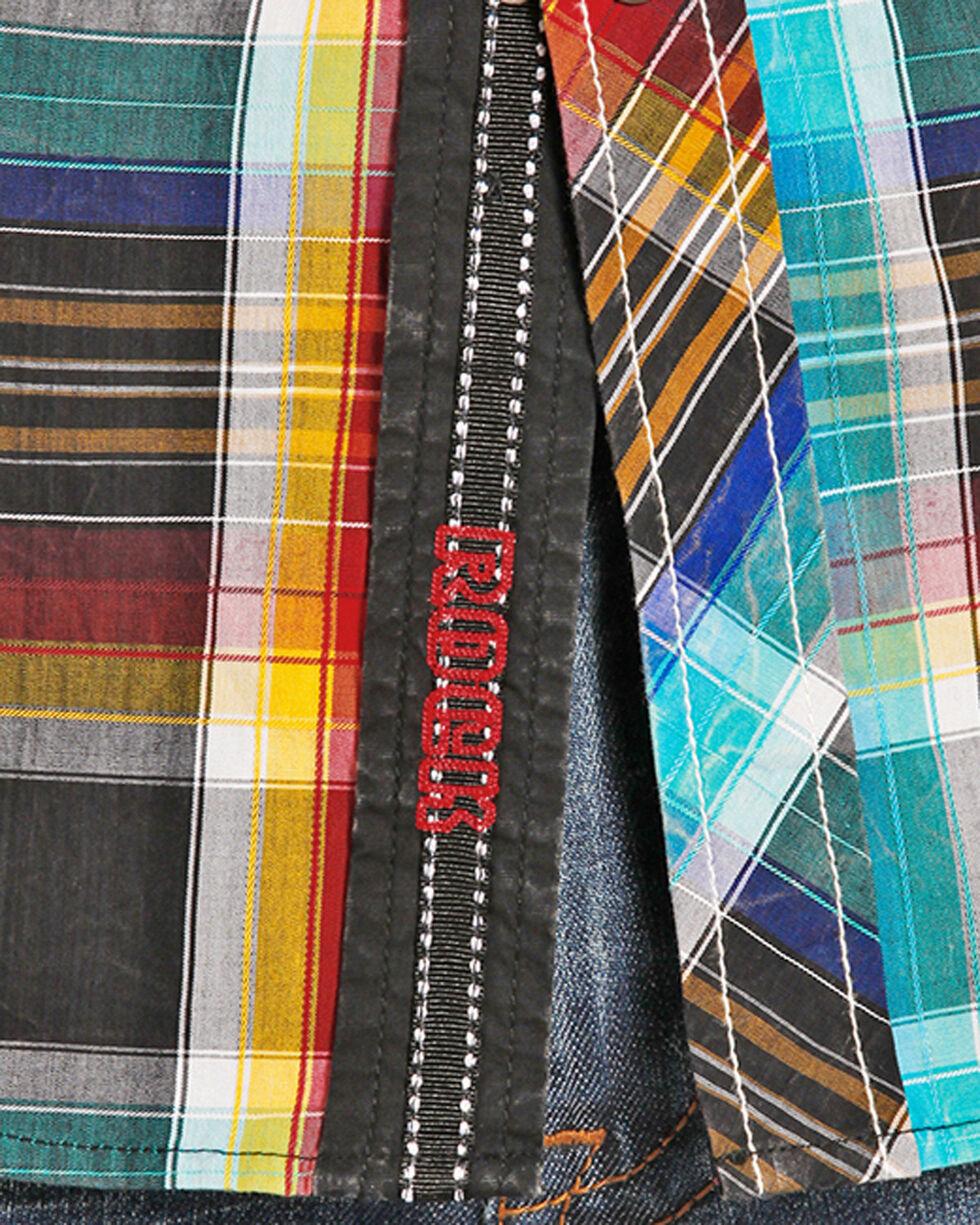 Rock & Roll Cowboy Men's Crinkle Wash Serape Plaid Shirt, Multi, hi-res