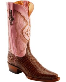 Ferrini Blush Pink Caiman Belly Cowgirl Boots - Snip Toe, , hi-res