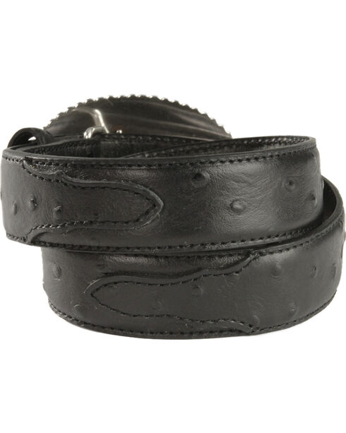Nocona Boys' Bullrider Ostrich Belt, Black, hi-res