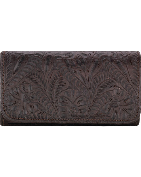 American West Women's Chocolate Annie's Secret Tri-Fold Wallet , Chocolate, hi-res