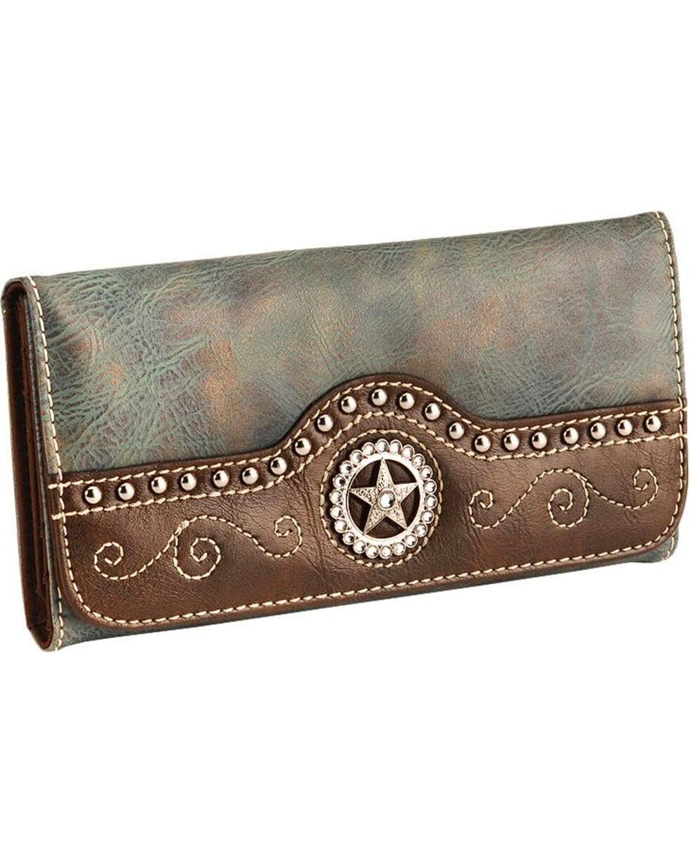 M&F Women's Blazin Roxx Star and Stud Tri-fold Wallet, Blue, hi-res