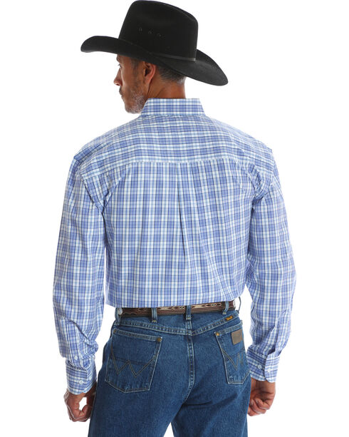 Wrangler George Strait Men's Blue Plaid Button Down Shirt, Blue, hi-res