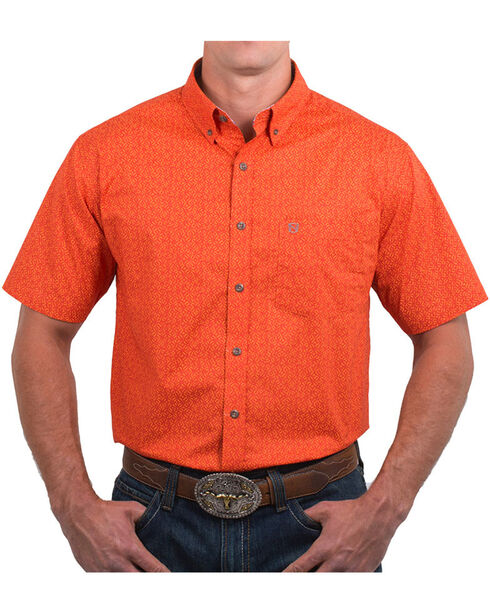 Noble Outfitters' Men's Dot Patterned Short Sleeve Shirt, Orange, hi-res