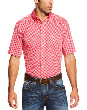 Ariat Men's Check Patterned Button Down Short Sleeve Shirt, Red, hi-res