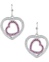 Montana Silversmiths Women's Love's First Blush Heart Earrings , , hi-res