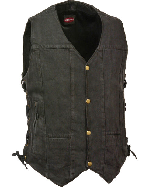 Milwaukee Leather Men's 10 Pocket Side Lace Denim Vest, Black, hi-res