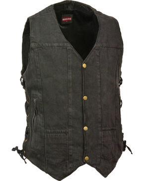 Milwaukee Leather Men's 10 Pocket Side Lace Denim Vest - 4X, Black, hi-res