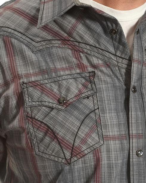 Moonshine Spirit Men's Fire Trap Plaid Long Sleeve Western Shirt, Grey, hi-res