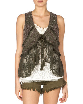 Miss Me Women's Mix Match Lace Vest, Olive, hi-res