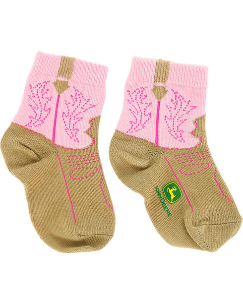John Deere Infant Western Boot Print Socks, Pink, hi-res