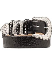 Nocona Croc Print Embellished Keeper Belt, , hi-res