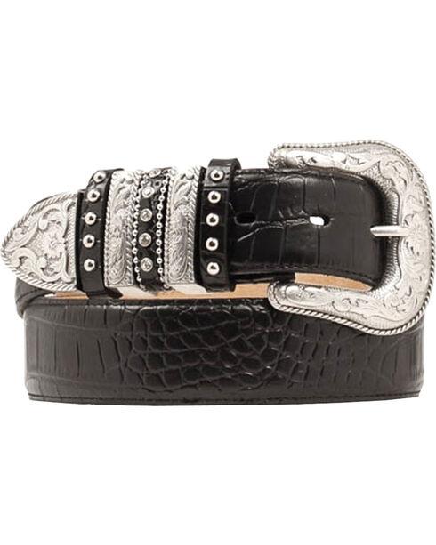 Nocona Croc Print Embellished Keeper Belt, Black, hi-res