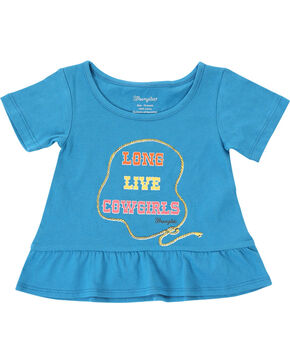 Wrangler Girls' Cowgirl Short Sleeve Tee, Blue, hi-res