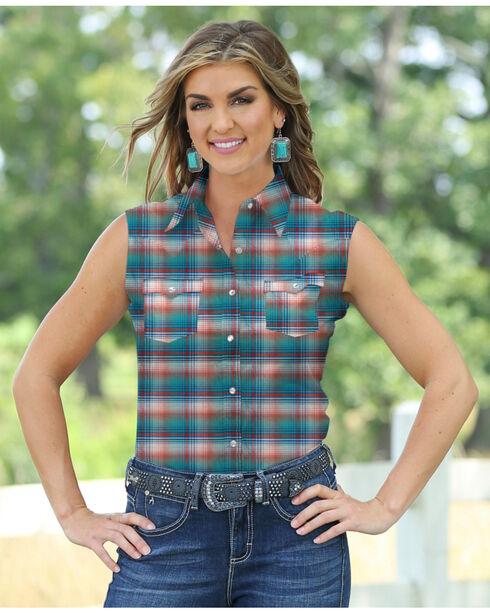 Wrangler Women's Sleeveless Plaid Shirt, Turquoise, hi-res