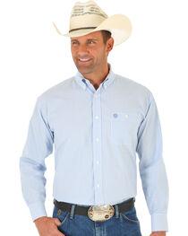 Wrangler George Strait Blue Dobby Stripe Western Shirt , , hi-res